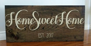 "HAND PAINTED ""HOME SWEET HOME"" RUSTIC WOOD SIGN"