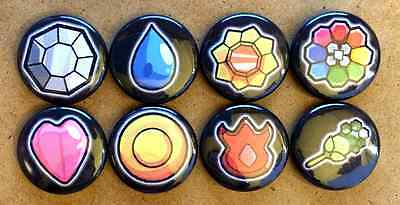 """Set of 8 1"""" Pokemon Kanto Badges Button Pinbacks"""