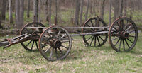 Antique 1880s Horse Drawn WAGON CHASSIS with Barrel Axle WHEELS!