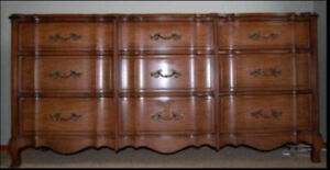 Andrew Malcolm French Provincial 9 Drawer Dresser with Mirror