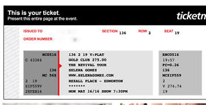 Selena Gomez Platinum Tickets for May 16!