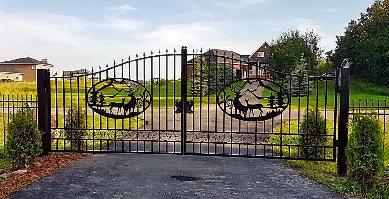 New Driveway Deer Horse Wrought Iron Gate 20 Ft 14 Ft