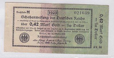 0,42 Goldmark Banknote Schatzanweisung des deutschen Reich 26.10.1923 (118726)