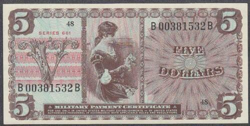 US MPC 5 Dollars Note Series 661 Gem UNC