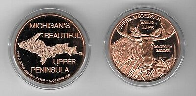 "1.5"" YOOPER MOOSE COIN - 1 Ounce of PURE copper with case- From da UP"