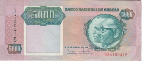 Angola Banknote P, 130a  5,000 Kwanzas, 4.2.1991 Sig 16, VF+ We Combine
