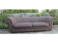 Large Stunning Brown Fabric Chesterfield Style 3 Seater Sofa from MADE .com