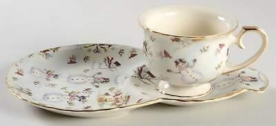 Coastline Imports SNOWMAN CREAM Tea & Toast Snack Plate & Cup 10954697 (Cream Tea Plate)