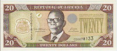Liberia 20 Dollars 2008 Pick 28 UNC