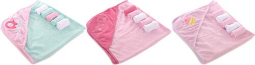 Honey Baby Girls Hooded Towel & 5-Pack Washcloth BRAND NEW!!!!!