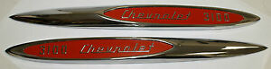 1957 CHEVROLET TRUCK 1/2 TON 3100 FRONT FENDER EMBLEM PAIR WITH RED DETAILS