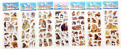 "7 sheets STICKER LOT 3D CARTOON SMALL PVC STICKERS LOT"" ANIMAL WORLD""CHILDREN"