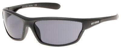 Harley-Davidson Men's Plastic Wrap H-D Sunglasses, Matte Gray & Smoke Gray Lens