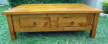Heavy 1.3m wide Wooden 2 Drawer Coffee Table