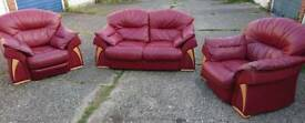 Three piece suite, sofa and two chairs