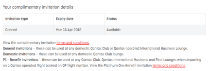 1 x Qantas Lounge Pass - Exp 16 Apr 2018 $30 only