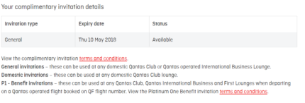 1 x Qantas Lounge Pass - Exp 10 May 2018 $40 only