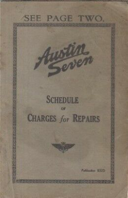 AUSTIN 7 SEVEN SALOON ORIGINAL 1934 FACTORY SCHEDULE OF REPAIR CHARGES BOOKLET