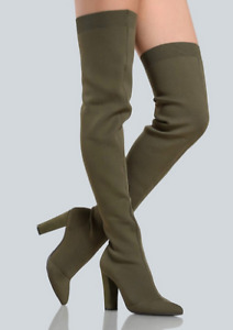 thigh high olive green boots