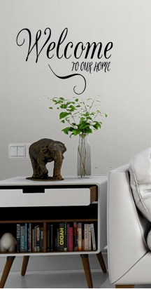Home Decoration - Welcome To Our Home Vinyl Wall Art Sticker / Decal Home Door Decoration