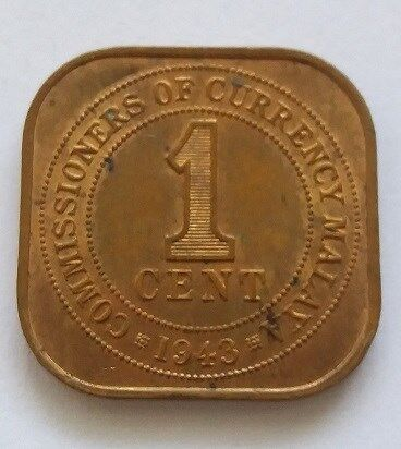 Malaya Commissioners of Currency King George VI 1 Cent Coin Year 1943 - A FINE Coin