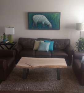 Ikea Brown leather couch and 2 chairs