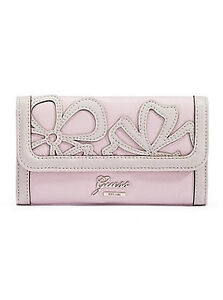 NWT GUESS Authentic Floren Wallet Purse Slim Clutch Pink Small w/ cutout flowers