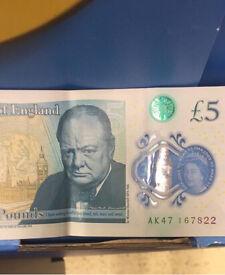 AK47 five £5 note