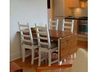 Drop leaf kitchen table & 4 chairs with pads