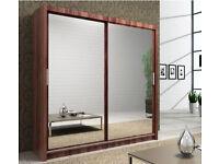 2 Door Sliding Mirrored Wardrob with Full Glass in Black, Brown Oak White Walnut- Brand New