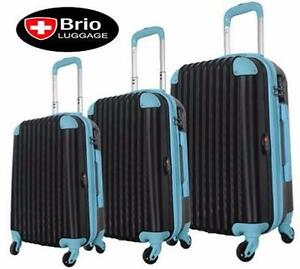 NEW BRIO 3 PC SPINNER LUGGAGE SET   3 PC LUGGAGE SPINNER NAVY SHELL AND BLUE SUITCASE TRAVEL GEAR VACATION BAG  85226488