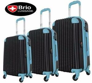 NEW BRIO 3 PC SPINNER LUGGAGE SET   3 PC LUGGAGE SPINNER BLACK SHELL AND BLUE SUITCASE TRAVEL BAGGAGE 96559859