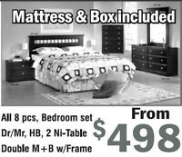 ★★TODAY SALE GET BRAND NEW 8PC BEDROOM SET WITH MATTRESS $498★★★