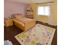 Kids Floral Area Rug 5x7ft/ Girls Bedroom Carpet