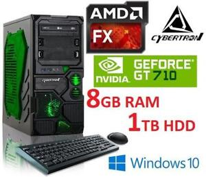 OB CYBERTRON GAMING DESKTOP PC PC Borg-Q 183787380 FX 4300 8GB RAM NVIDIA GT 710 GPU 1TB HDD WIN 10 OS COMPUTER OPEN BOX