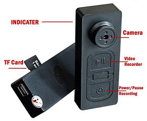 Black Mini Hidden Button Spy DV Camera