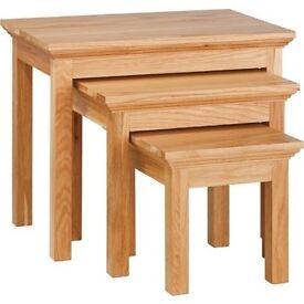 Kensington solid oak nest of tables.Bnib