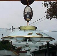 1950s UFO Space Age 4 Light Retractable Ceiling Light Fixture~Ex