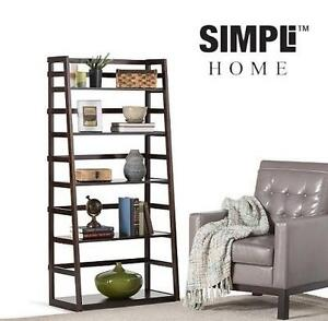 NEW SH LADDER SHELF BOOKCASE SIMPLI HOME - ACADIAN COLLECTION - TOBACO BROWN - HOME - FURNITURE 105203535
