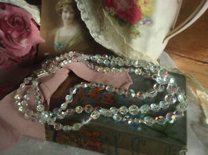 Vintage 1950's Crystal Aurora Borealis Triple Strand Necklace