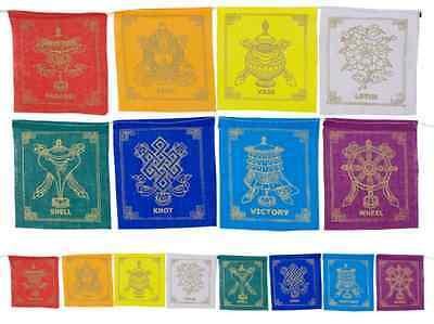 Strang Gebetsfahne mit 8 Glückssymbolen Gebetsfahnen 3,5'' x 3,75'' ca. 100 cm