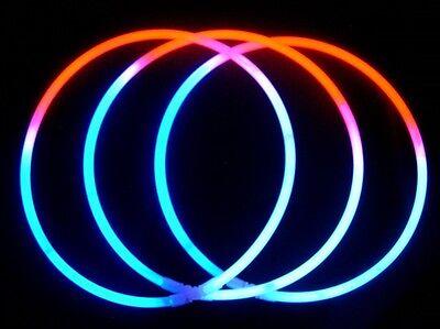 100 Tri-Color RED WHITE BLUE Glow Necklaces Bulk Wholesale + FREE 100 Bracelets