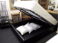 BRAND NEW 4ft6 Double Leather Ottoman Storage Bed Frame from £119 and Memory Orthopedic Mattress