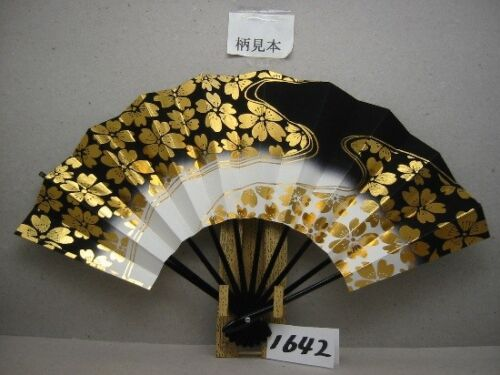 JAPANESE SENSU FAN ODORI  BLACK CHERY 28.8cm KYOTO MADE IN JAPAN (A1642)