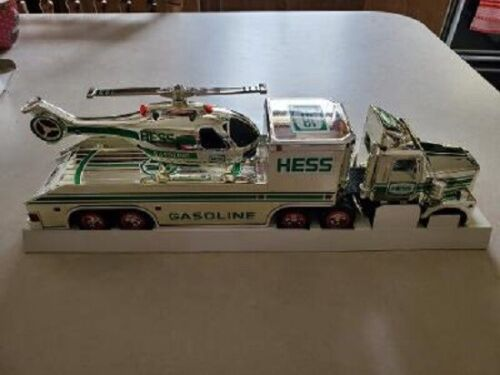 HESS* 1995 CHROME* TRUCK* AND HELICOPTER* RARE* MIB* WORKING* TRUCK* AND* HELI*