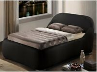 Time Living Manhattan Faux Leather Bed - Double - Black