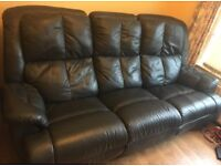 Dark Blue leather sofa recliner 2&3 seaters - excellent condition