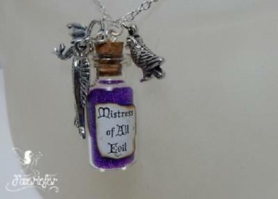 The Mistress Of All Evil magic vial necklace Maleficent dragon wing raven charms