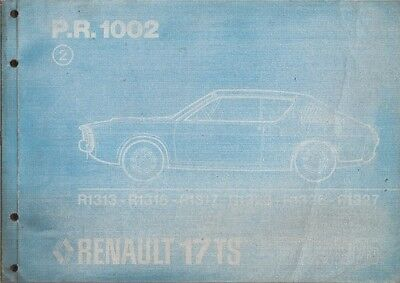 RENAULT 17 TS ORIGINAL 1973 FACTORY PARTS CATALOGUE
