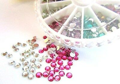 800 Poly Glass 3mm Round Rhinestone Jewel Embellishment+Case/Nail Art/craft E72 for sale  Shipping to India